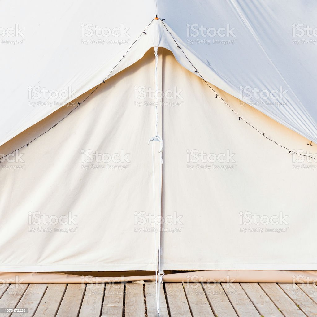 Close-up of glamping bell tent stock photo