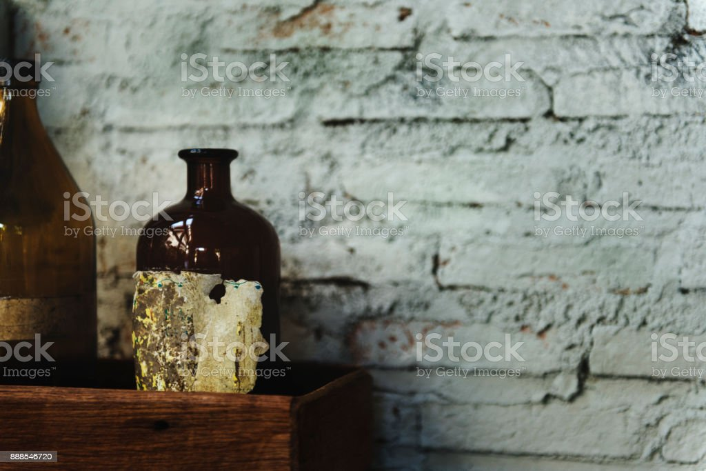 Closeup of glass bottles stock photo