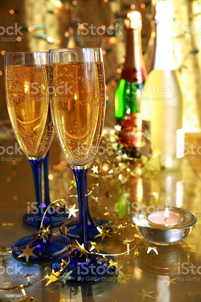 Close-up of glass with champagne. royalty-free stock photo