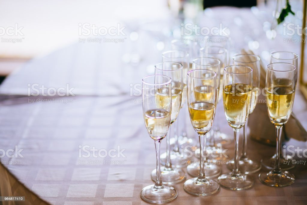 Closeup of glasses of champagne in a row on a table champagne, celebrate, cheer, cocktail, glasses royalty-free stock photo