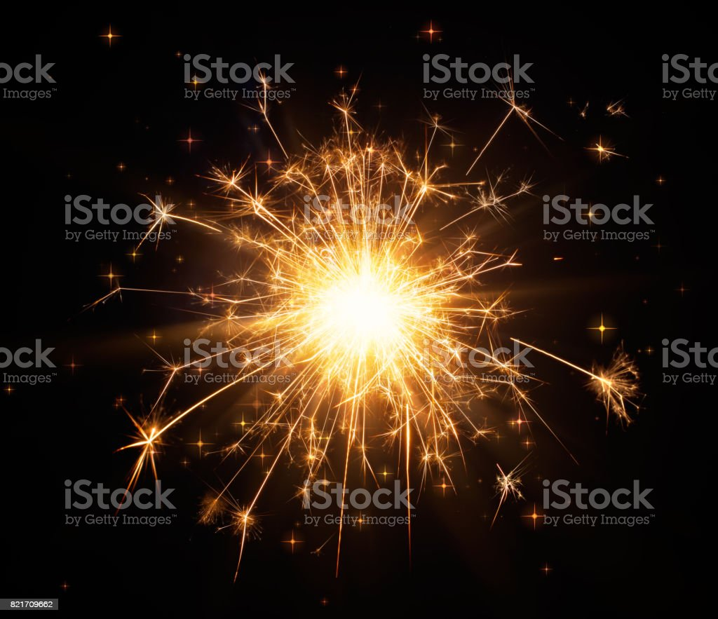 Close-up of glittering sparkler stock photo