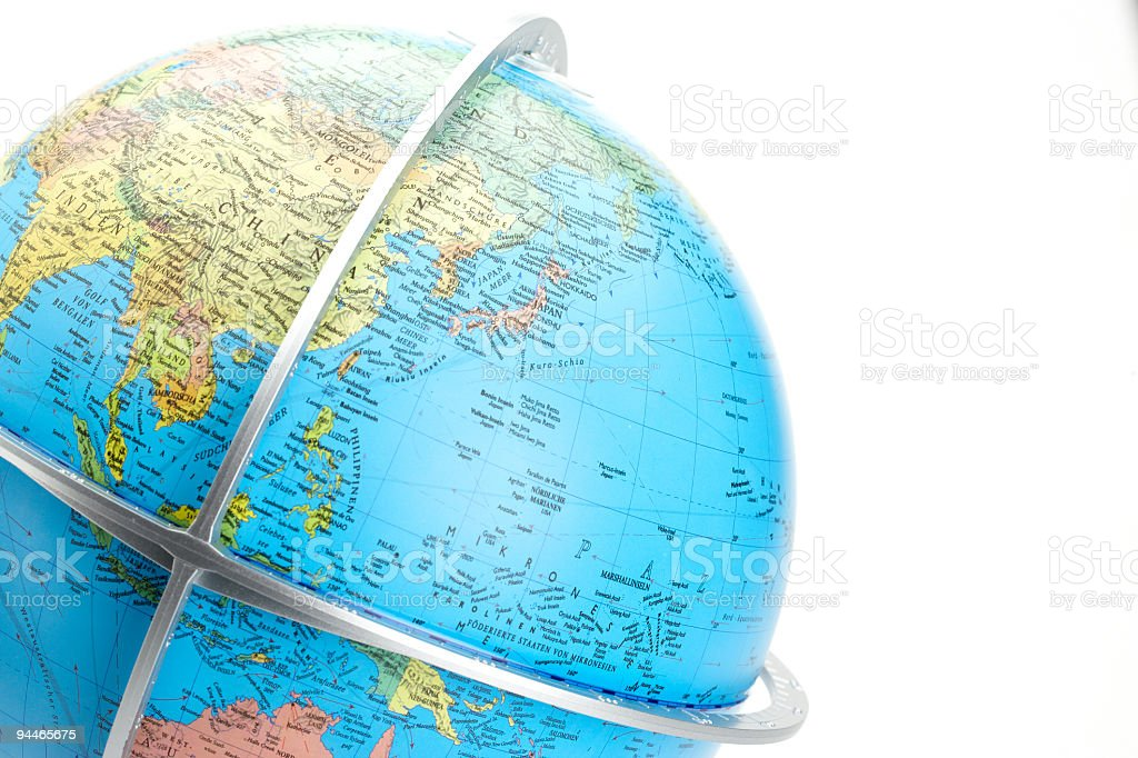 closeup of globe showing asia and the pacific royalty-free stock photo