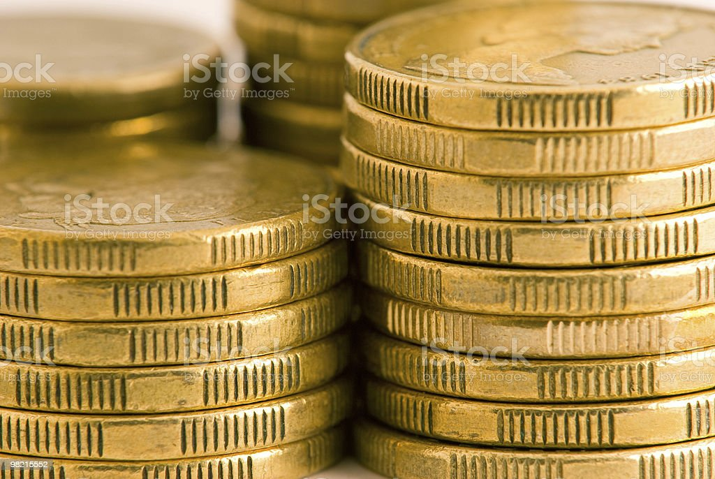 Close-up of gold Australian coins royalty-free stock photo