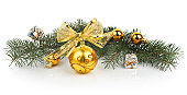 istock Closeup of golden Christmas balls 160513624