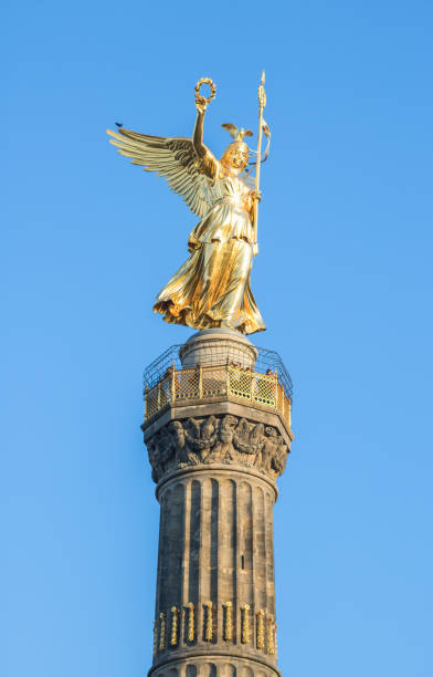 Closeup of golden Victory Column in Berlin stock photo