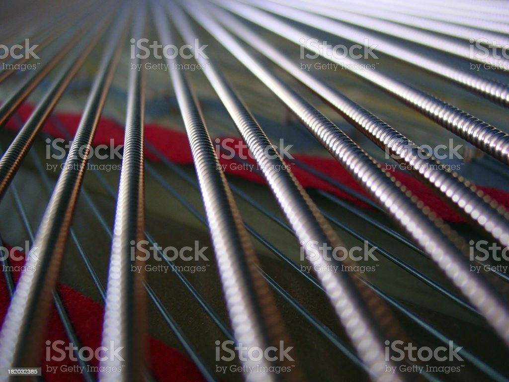 Closeup of Grand Piano Strings stock photo
