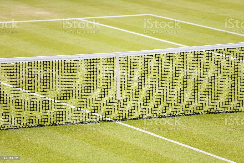 Close-up of grass tennis court royalty-free stock photo