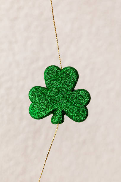 Closeup of green clower for Saint Patricks Day, traditional Irish Holiday stock photo