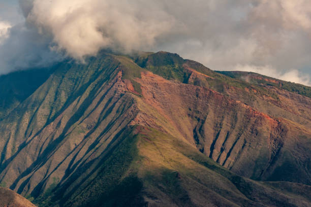 Closeup of green-brown mountain near Lahaina, Maui, Hawaii, USA. stock photo