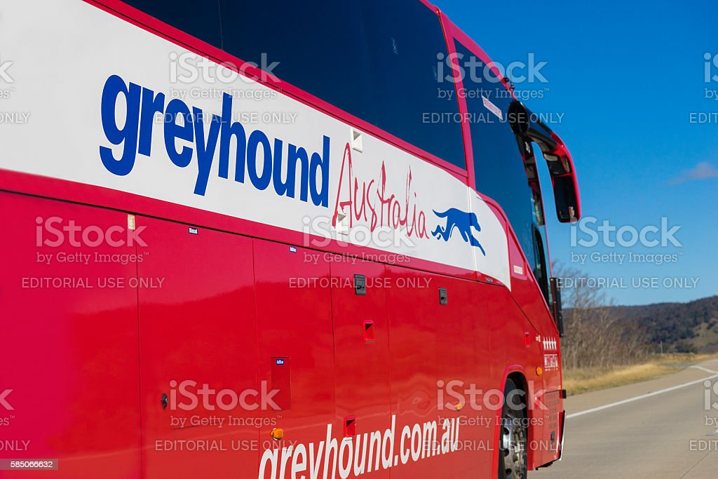 Close-up of Greyhound Australia bus on the road stock photo