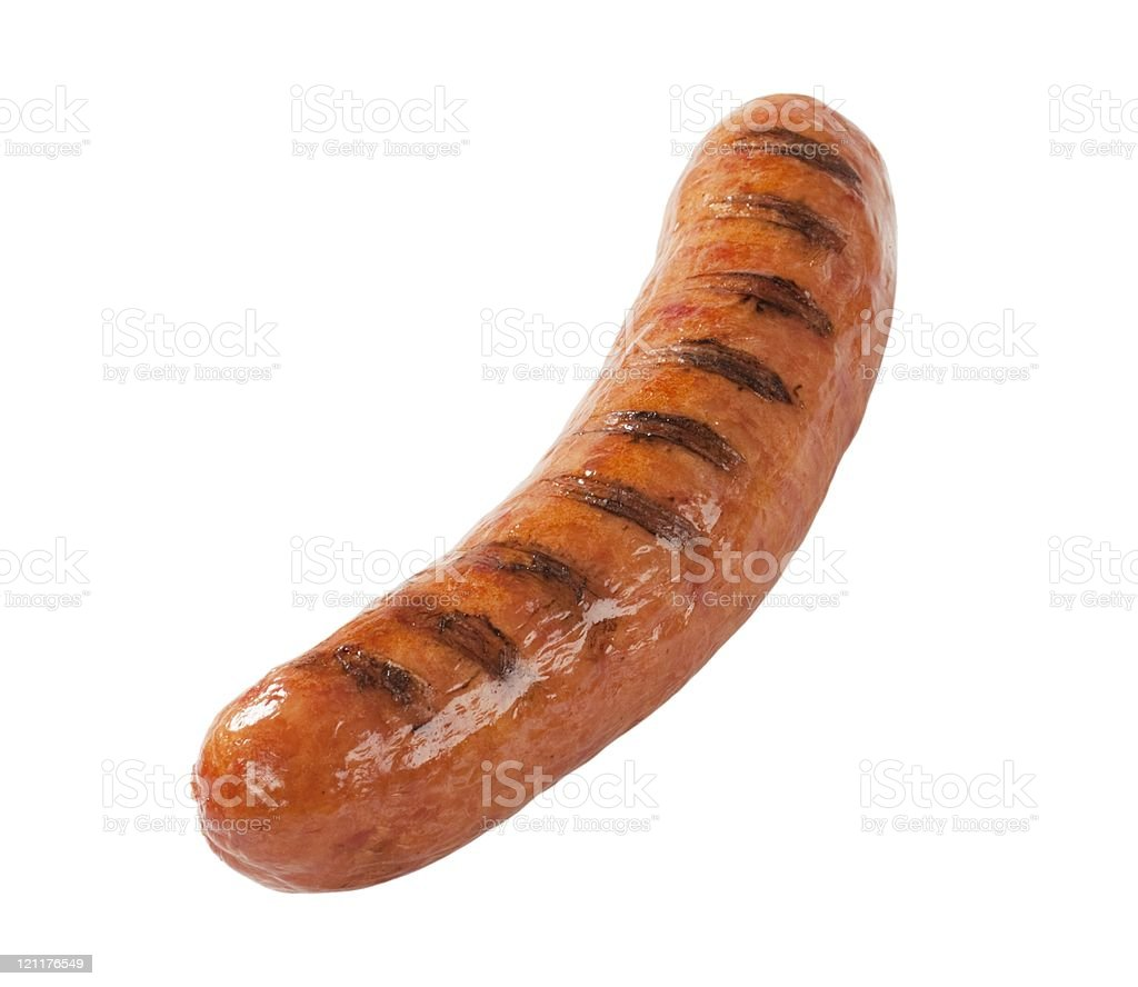 Close-up of grilled bratwurst on white background stock photo