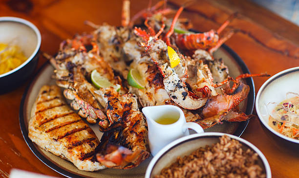 Close-up of grilled seafood and meat platter stock photo