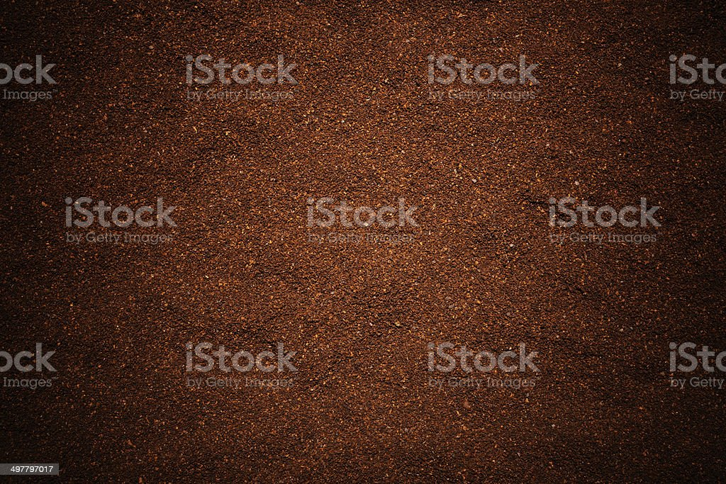 Close-up of ground coffee beans texture background. stock photo
