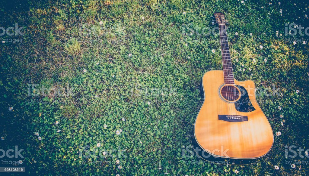 Close-up of guitar in the grass stock photo