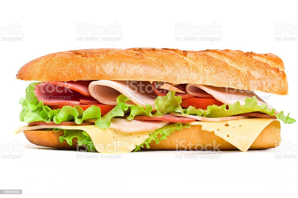 Close-up of half of a long baguette sandwich stock photo