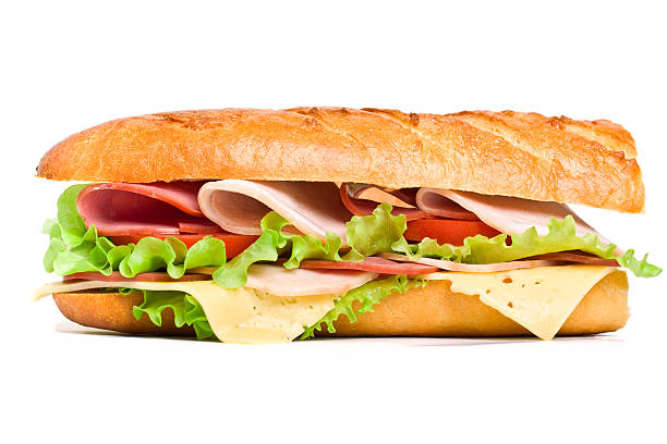 close-up of half of a long baguette sandwich - cheese sandwich bildbanksfoton och bilder
