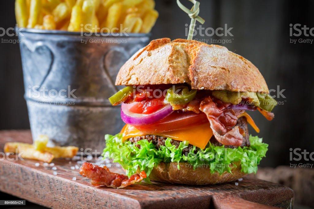 Closeup of hamburger made of beef and cheese stock photo
