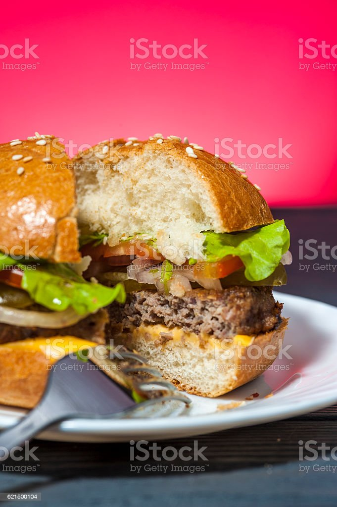 Closeup of hamburger with vegetables photo libre de droits