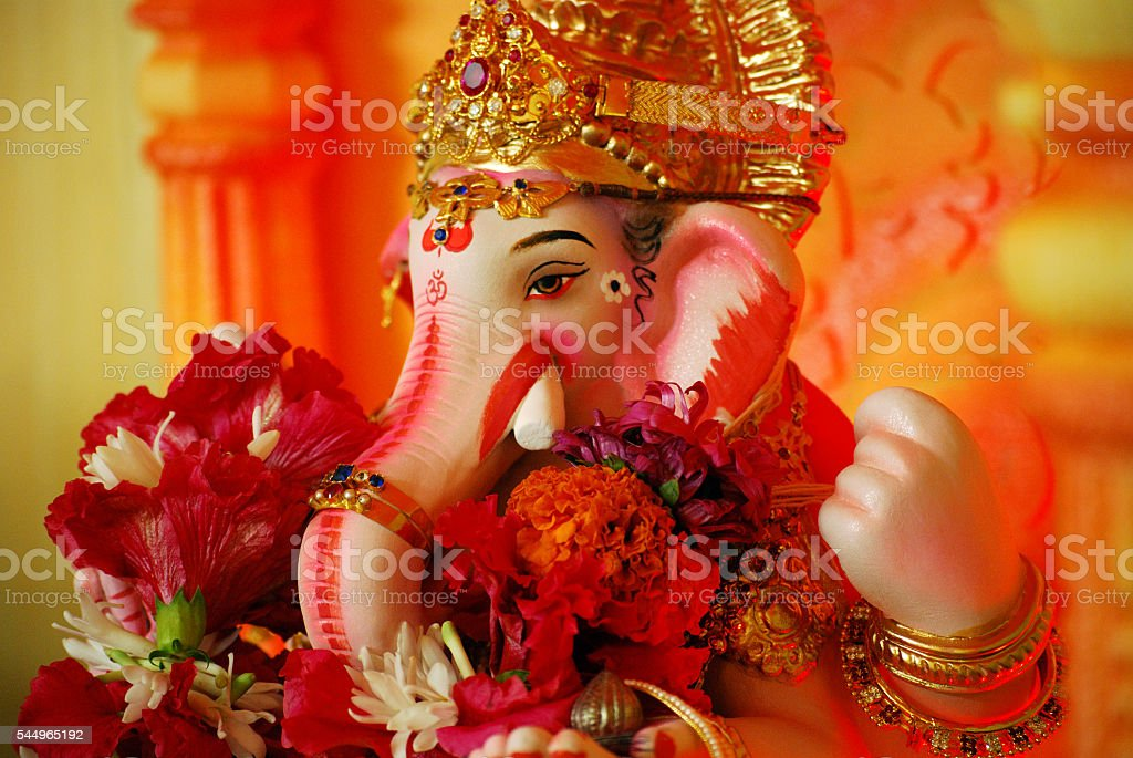 Close-up of hand crafted clay idol of Hindu god Ganesha stock photo