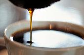 close-up of hand drip coffee