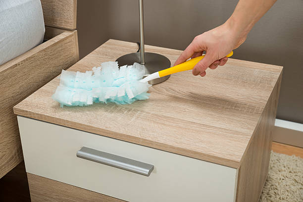 Close-up Of Hand Removing Dust With Duster Feather stock photo