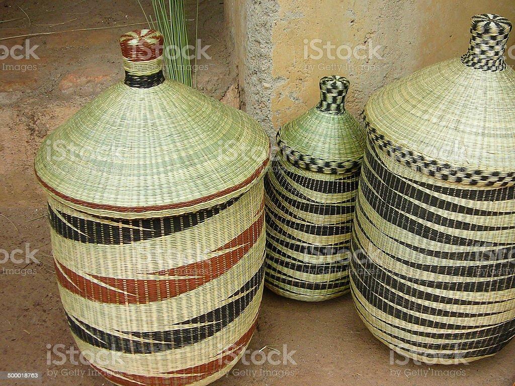 Closeup of Handcrafted baskets in Market Butare Rwanda stock photo