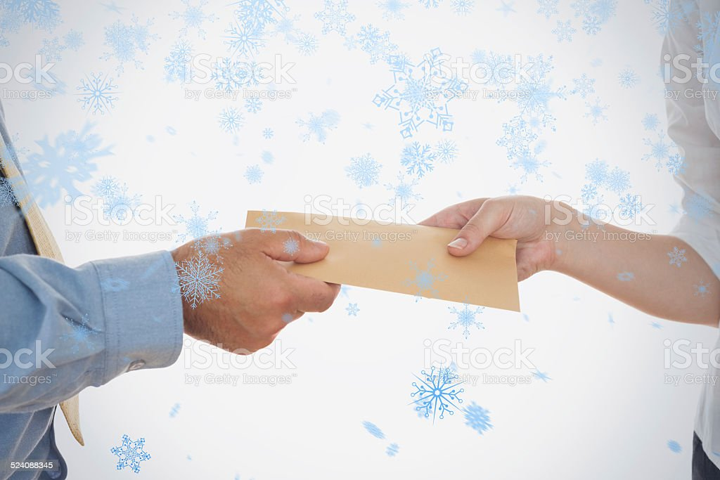 Closeup of hands holding bribe stock photo