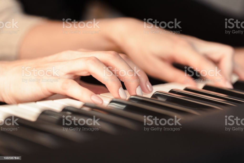 Closeup Of Hands Playing Piano Music And Hobby Concept Stock Photo -  Download Image Now