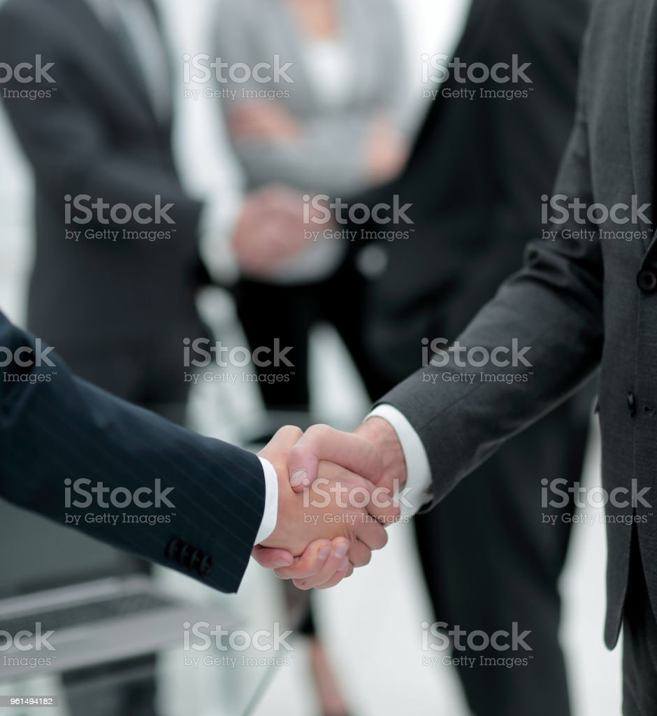 close-up of handshake business partners stock photo
