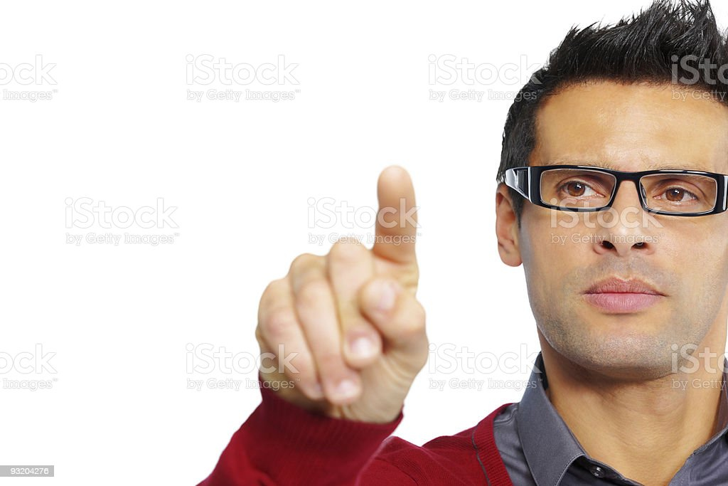 close-up of handsome mature man pointing on white background royalty-free stock photo