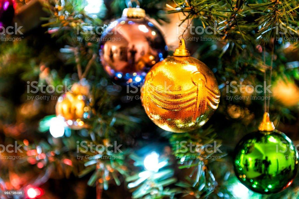Christmas Ornament Christmas Tree Decoration Save Closeup Of Hanging Illuminated Orange Green Blue Colorful Multicolored Multi