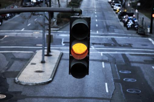 Yellow street light.