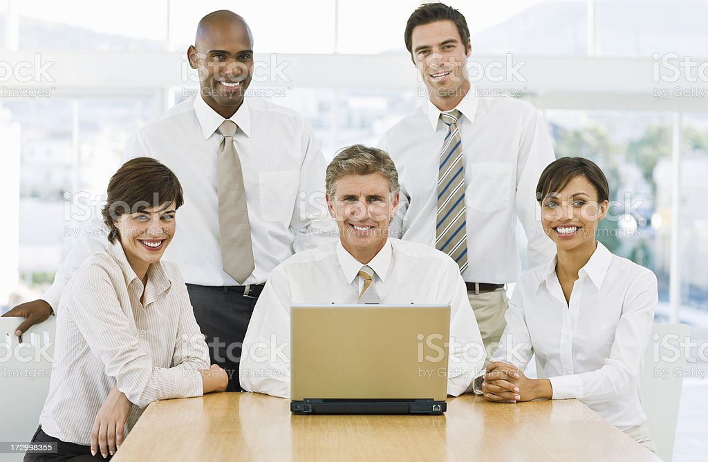 Closeup of happy businesspeople royalty-free stock photo