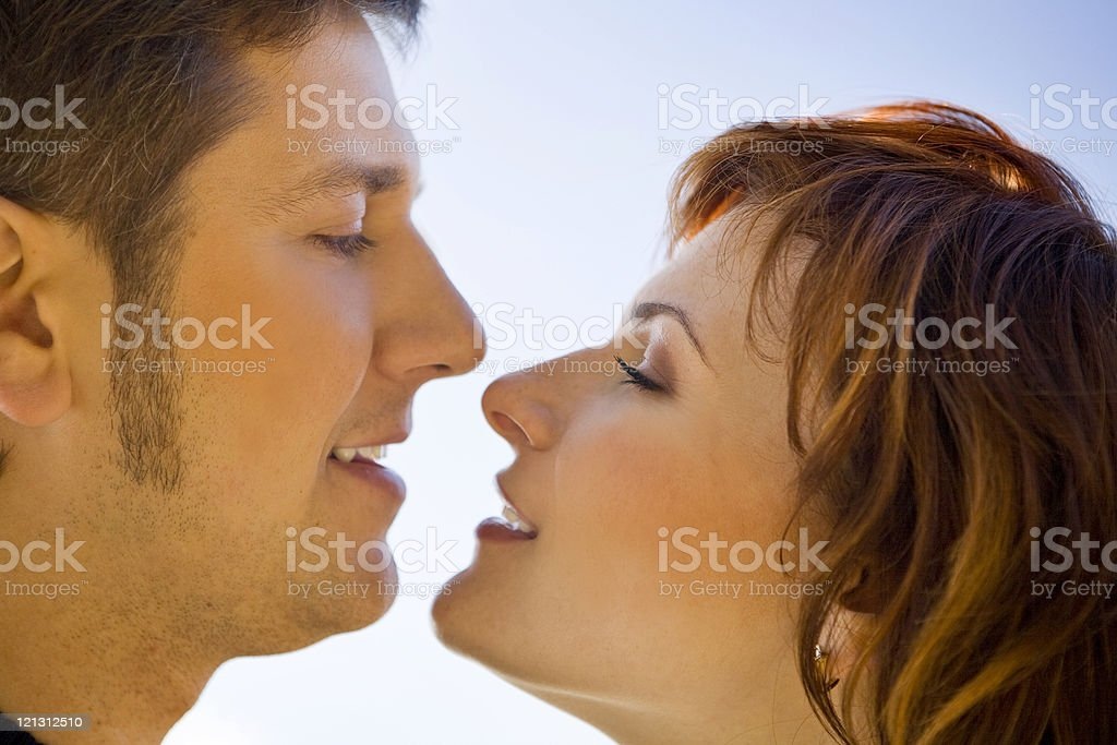 Close-up of happy couple at the sky. royalty-free stock photo