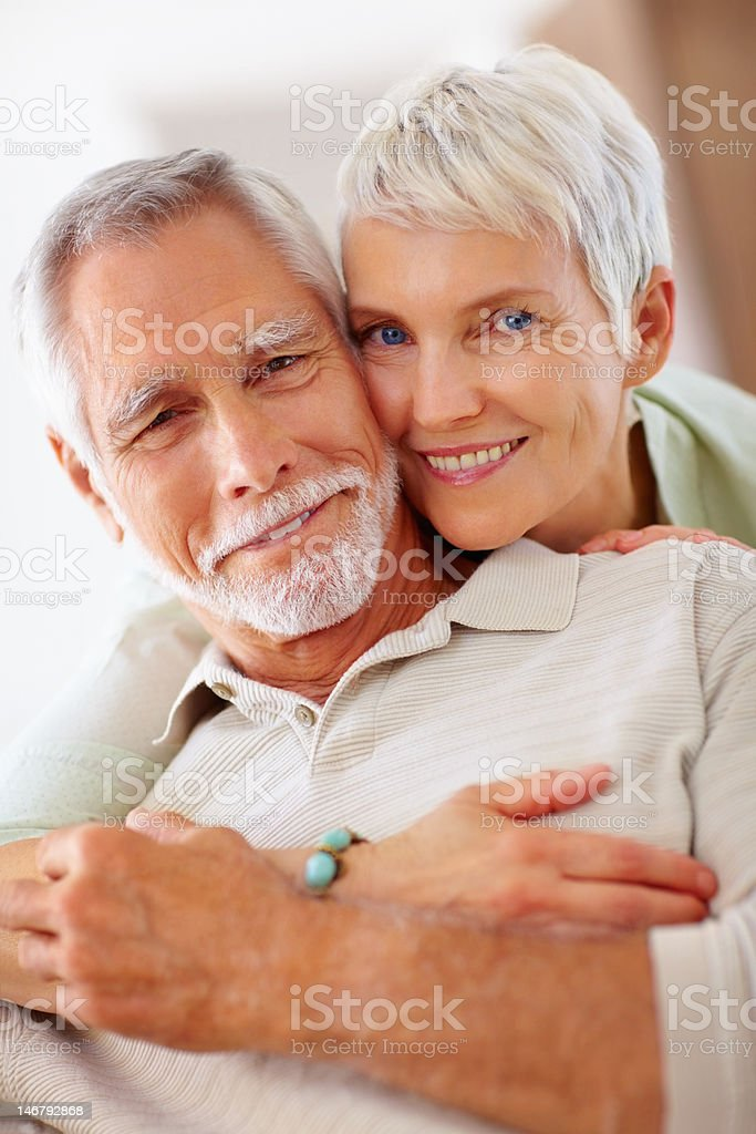 Close-up of happy romantic senior couple royalty-free stock photo