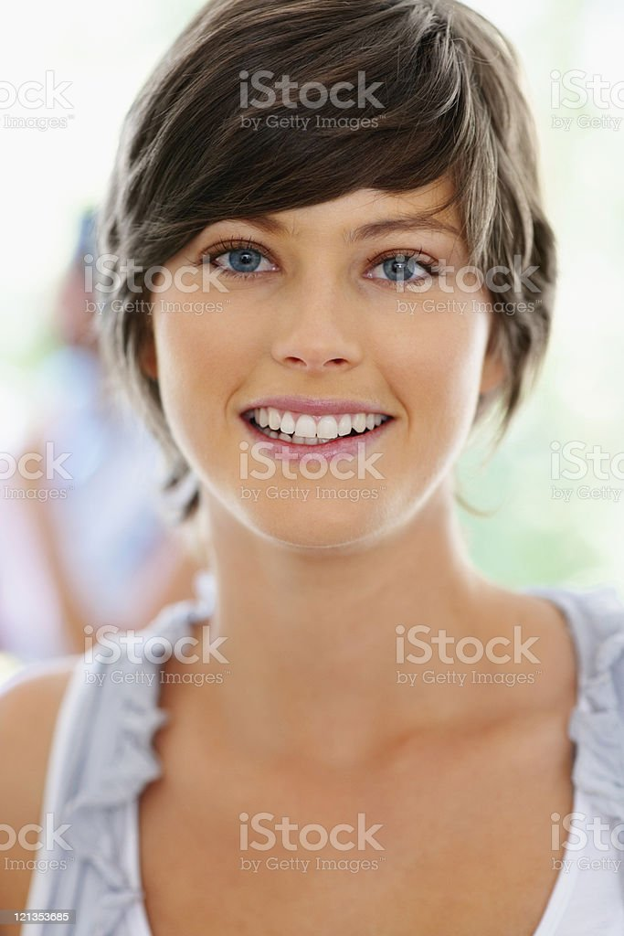 Closeup of happy woman royalty-free stock photo