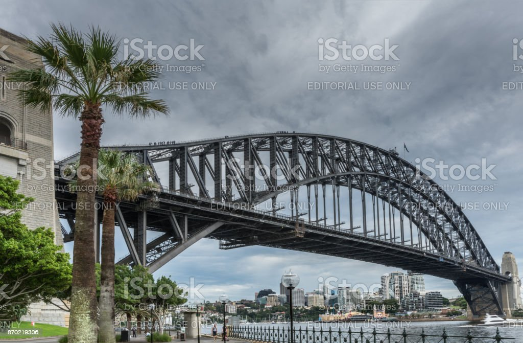 Closeup of Harbour Bridge, Sydney Australia. stock photo