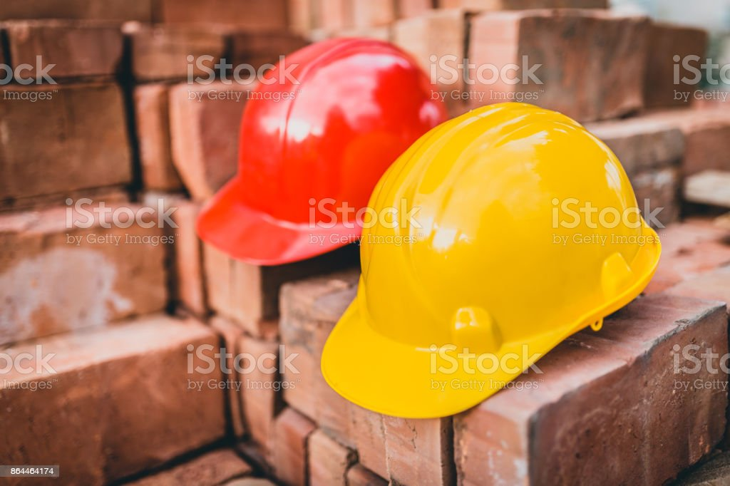 Close-up of hardhats on construction site stock photo