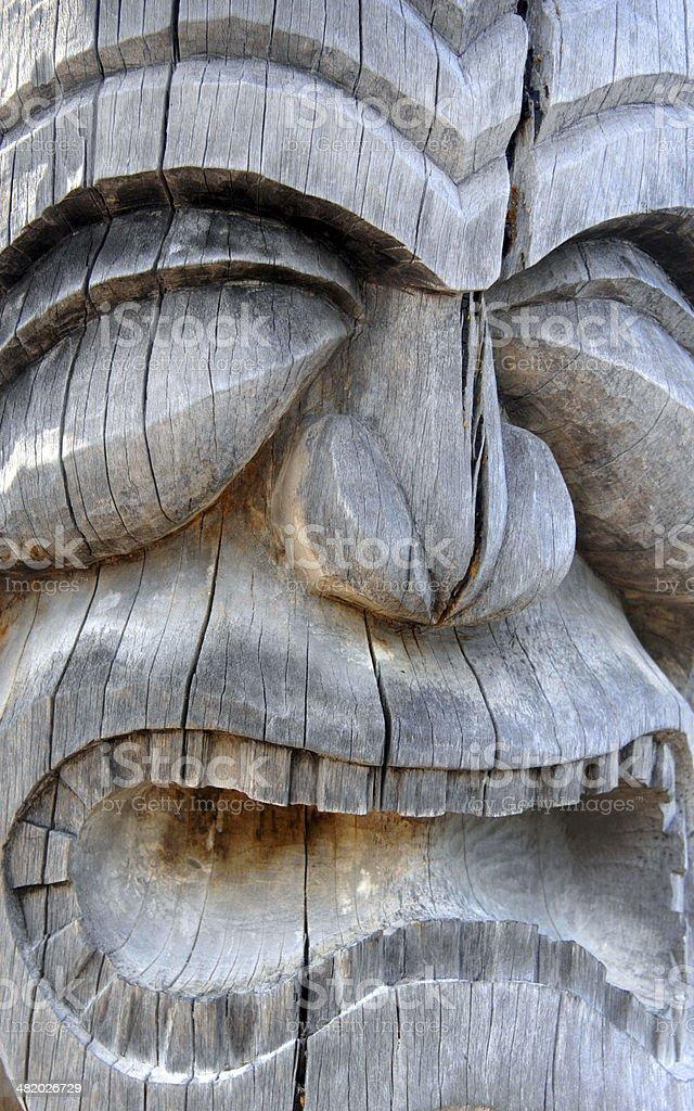 Closeup of Hawaiian Carving stock photo