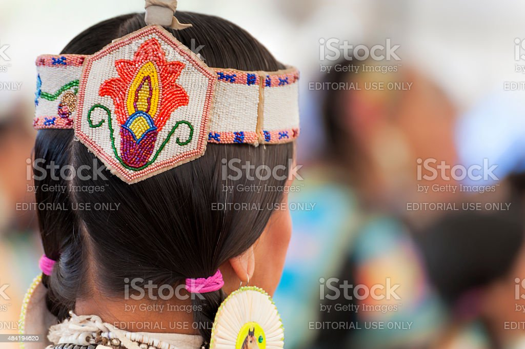 Closeup of Head dress on native American stock photo