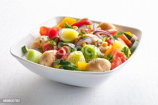 Salad with leek,potato,tomato,parsley,prosciutto,bell pepper,mushrooms