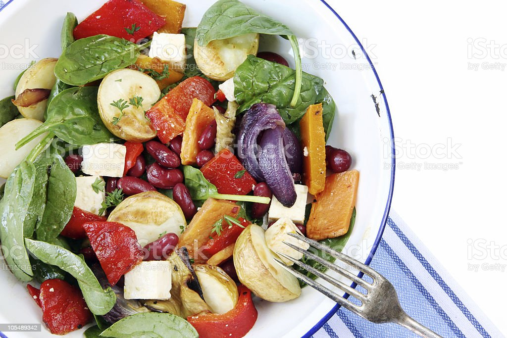 Close-up of healthy vegetable salad with feta cheese royalty-free stock photo