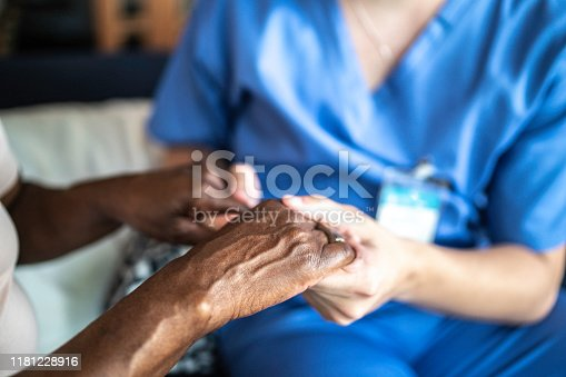 667827758 istock photo Close-up of home caregiver and senior woman holding hands 1181228916