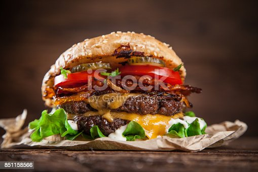 851159308 istock photo Close-up of home made burgers 851158566