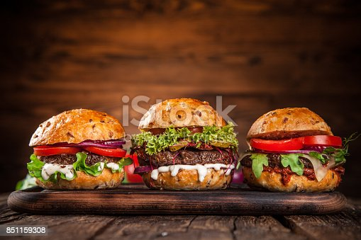 istock Close-up of home made burgers 851159308