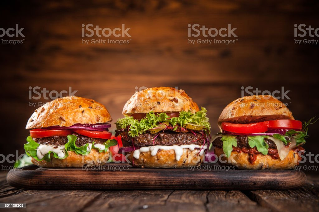 Close-up of home made burgers stock photo