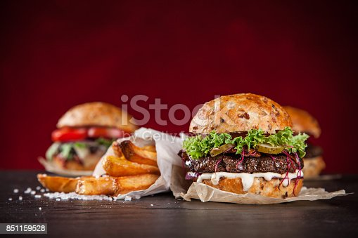851159308 istock photo Close-up of home made burgers 851159528