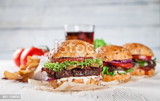 851159308 istock photo Close-up of home made burgers 851159630