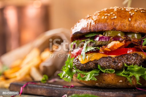 istock Close-up of home made burgers 854565540