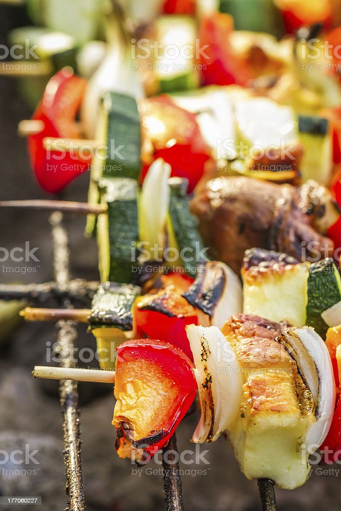 Closeup of hot skewers on the grate royalty-free stock photo